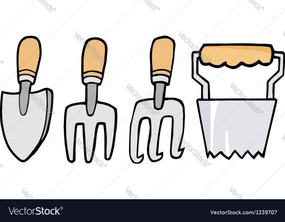 Collage Of Wood Handled Gardening Tools Royalty Free Vector