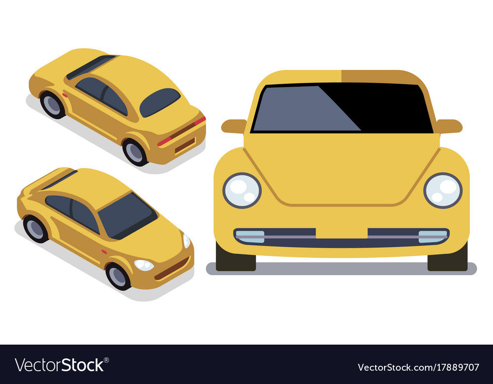 Flat-style cars in different views yellow vector image