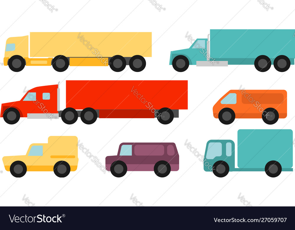 Flat style commercial vehicles set