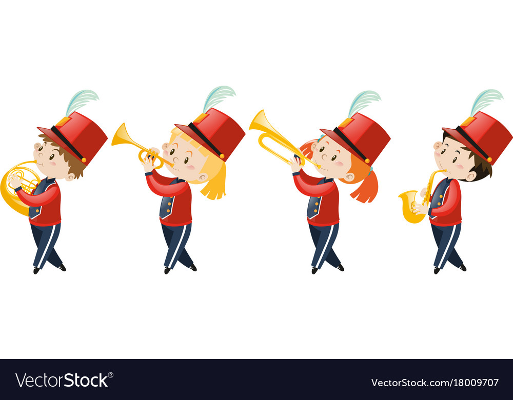 Four kids playing music in school band