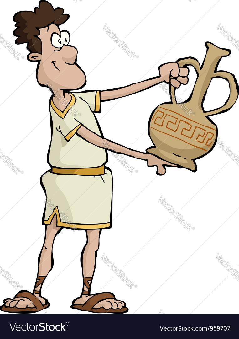 Greek man with a vase