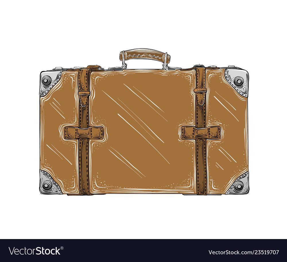 Hand drawn sketch of retro suitcase in brown color