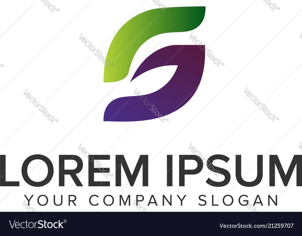 Letter s leaf logo design concept template fully