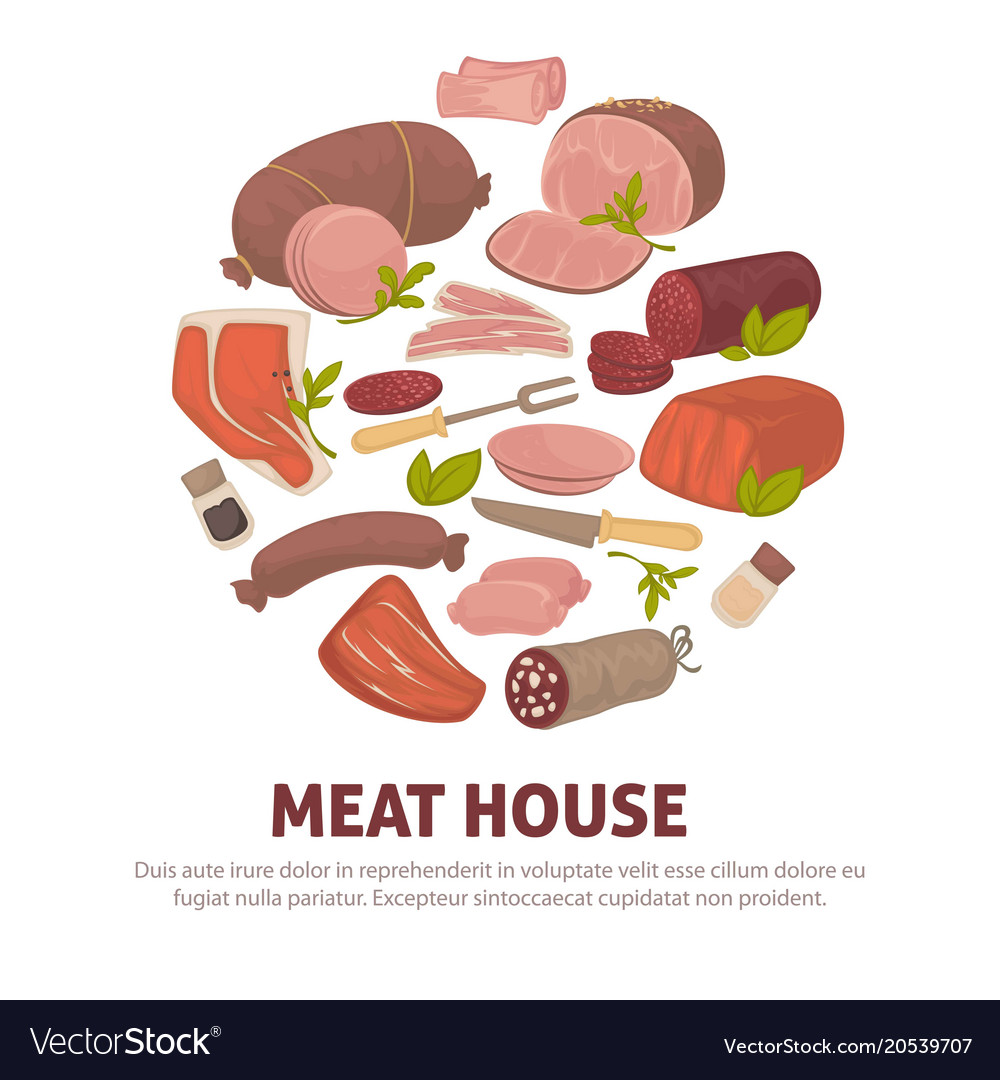 Meat house poster of meat and sausages