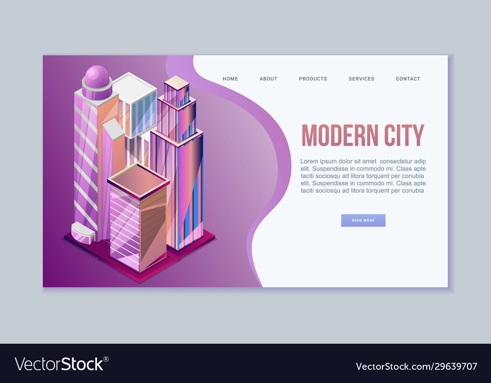 Modern city isometric view with architecture of