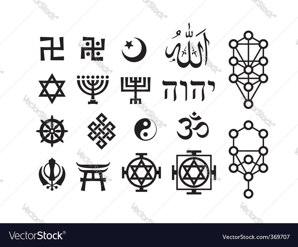 Oriental Religious Symbols Royalty Free Vector Image