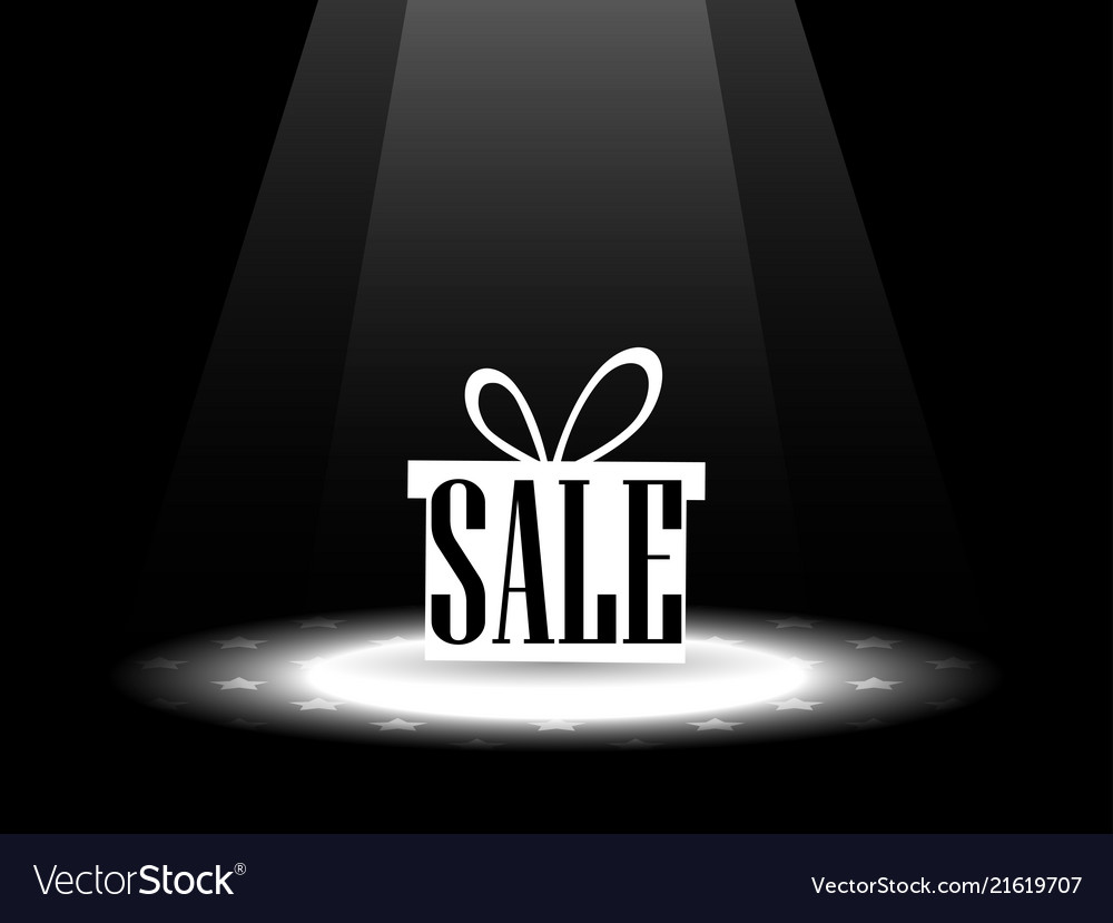 Sale gift box under the spotlight