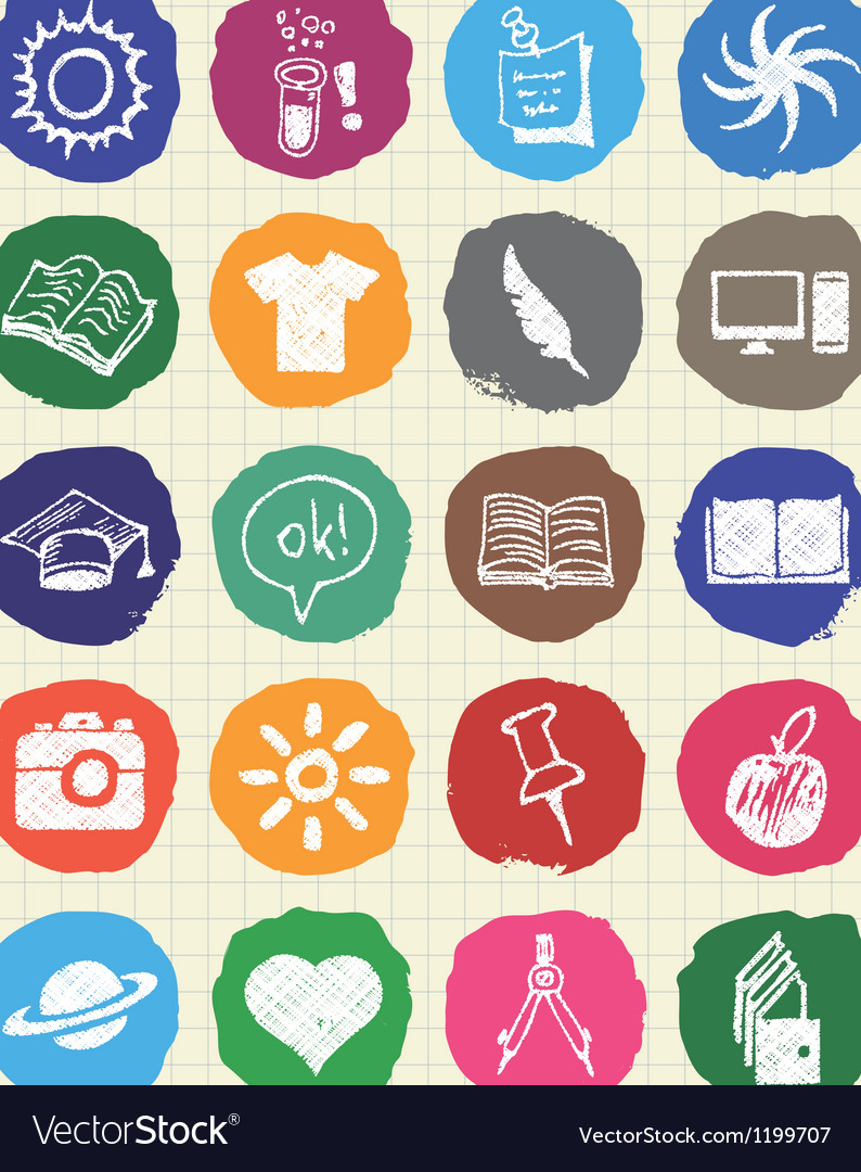 School and education web icons set drawn by chalk