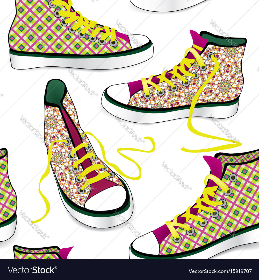 Sneakers tile background different sport shoes vector image