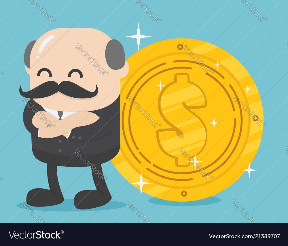 Successful businessman stand about big dollar coin