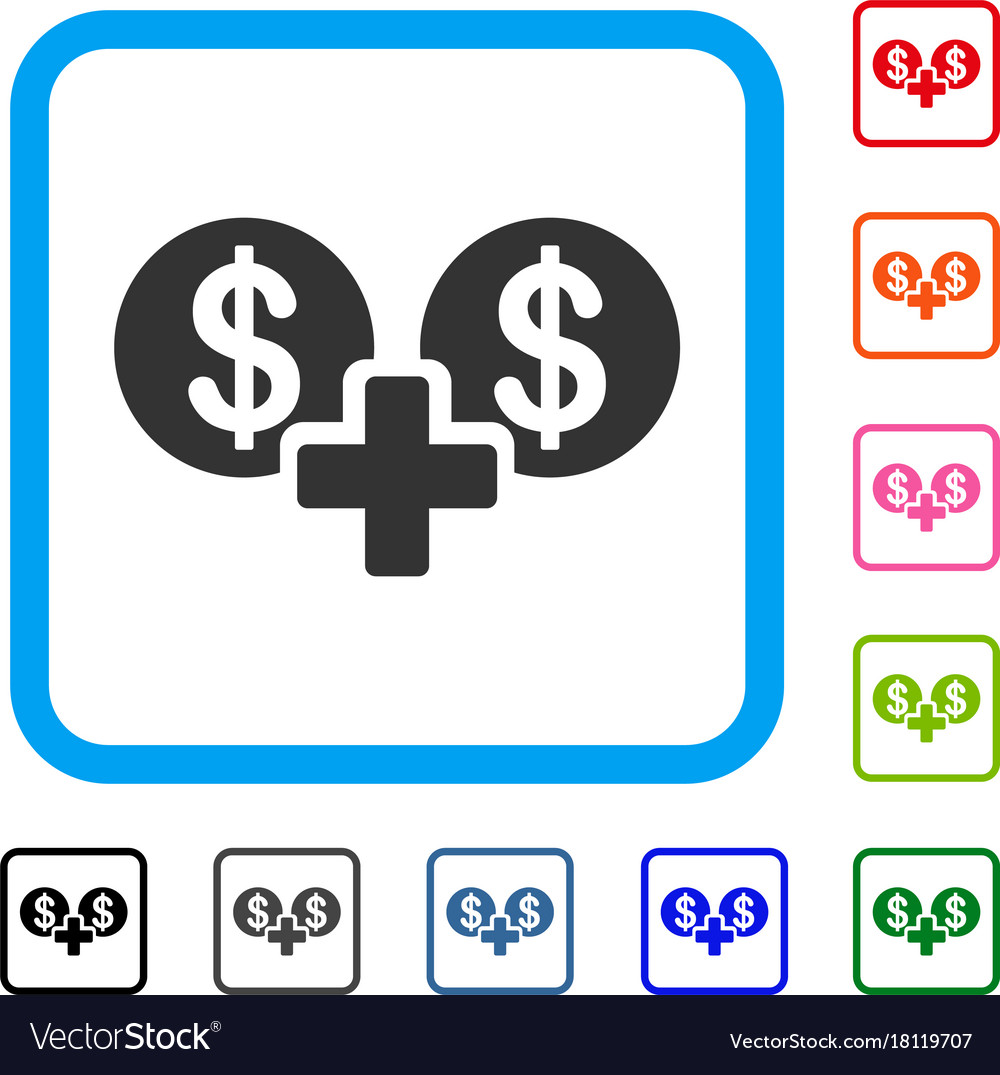 Sum money framed icon Royalty Free Vector Image