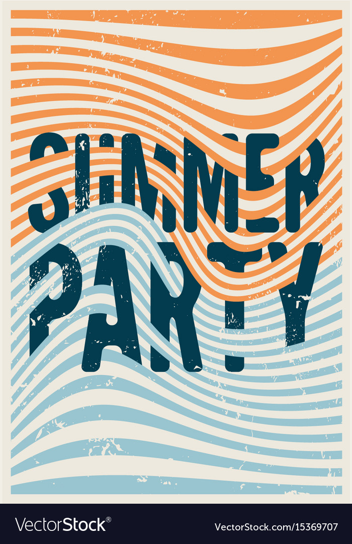 Summer party typographic vintage grunge poster