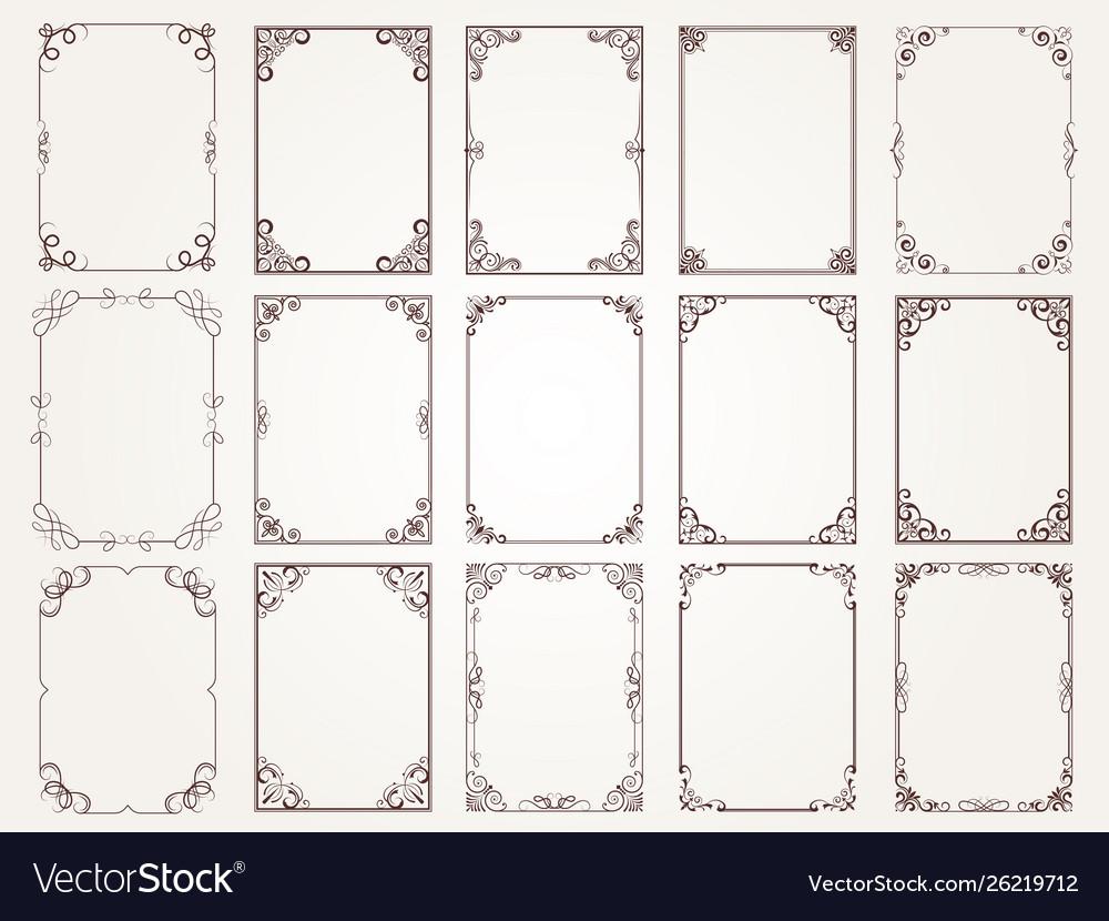 Calligraphic frames borders corners ornate frames