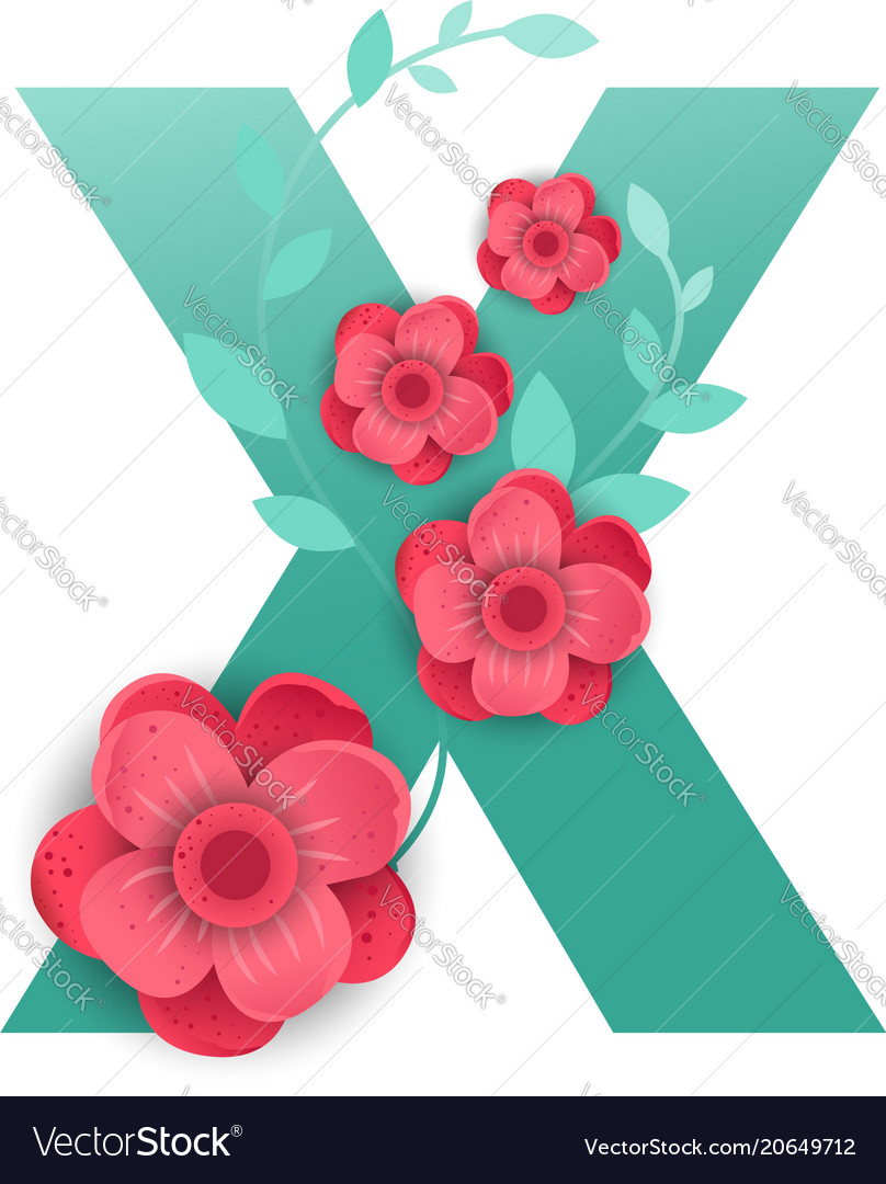 Color letter x with beautiful flowers royalty free vector color letter x with beautiful flowers vector image izmirmasajfo