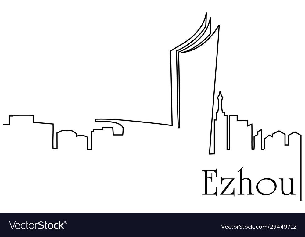 Ezhou city one line drawing
