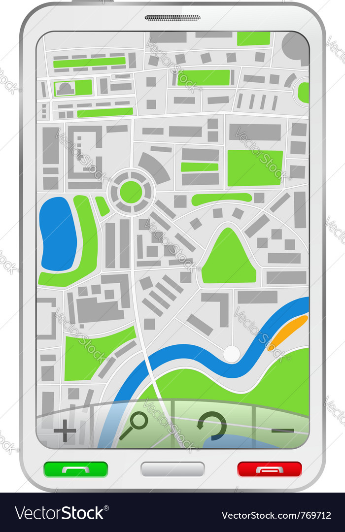 Gps navigator in mobile phone vector image