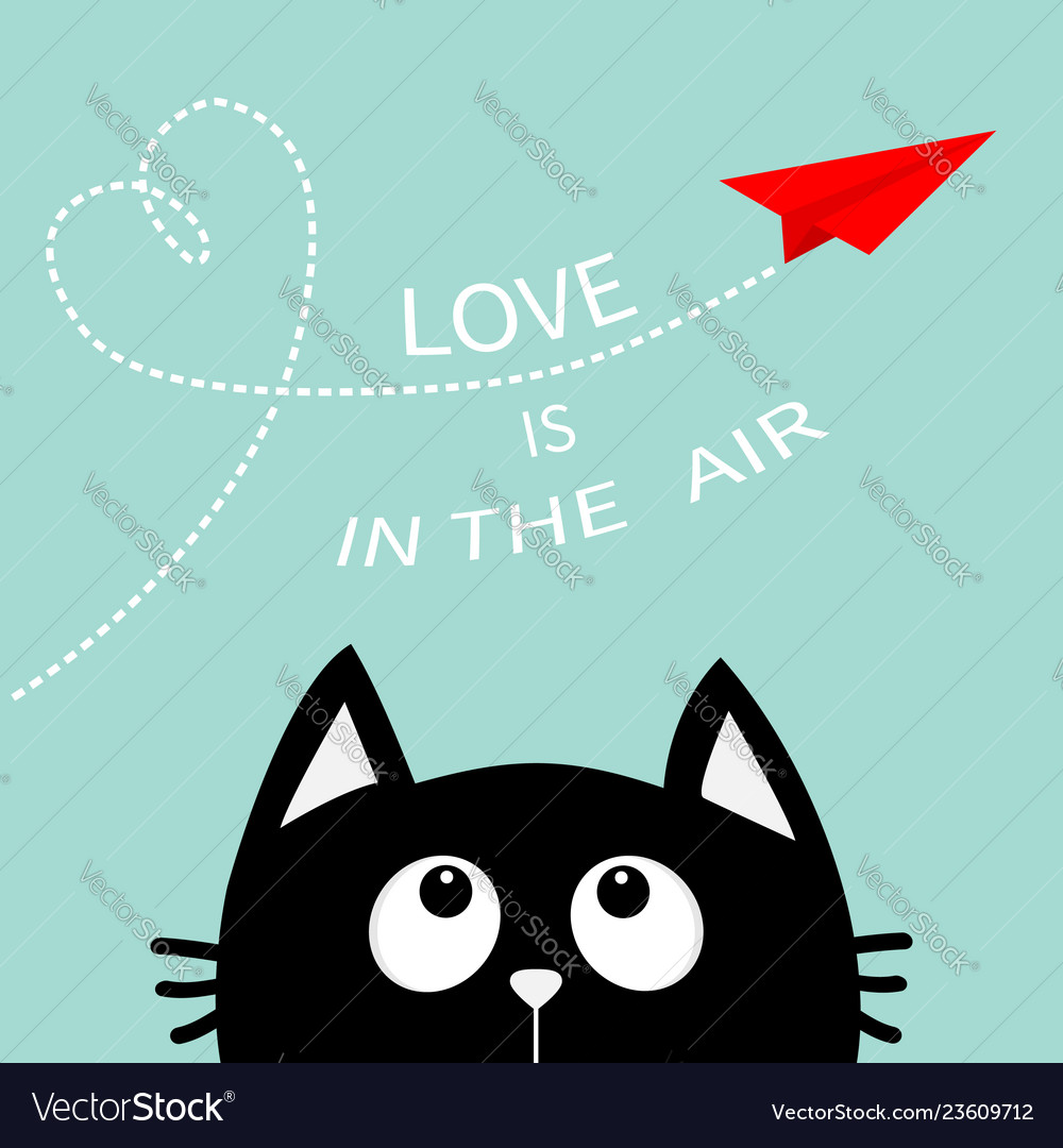 9ac21c97d1bf Heart loop love is in the air text black cat Vector Image