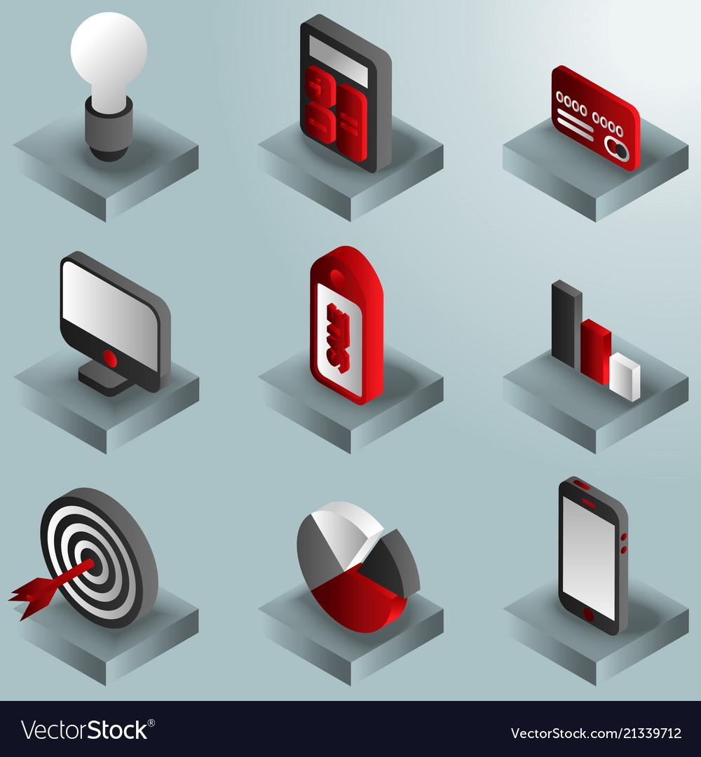Marketing color gradient isometric icons