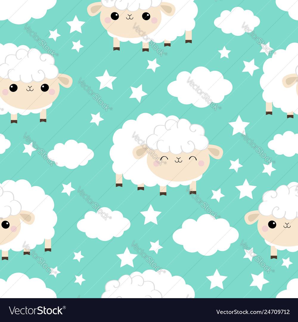 Seamless pattern sheep sleeping eyes cloud star