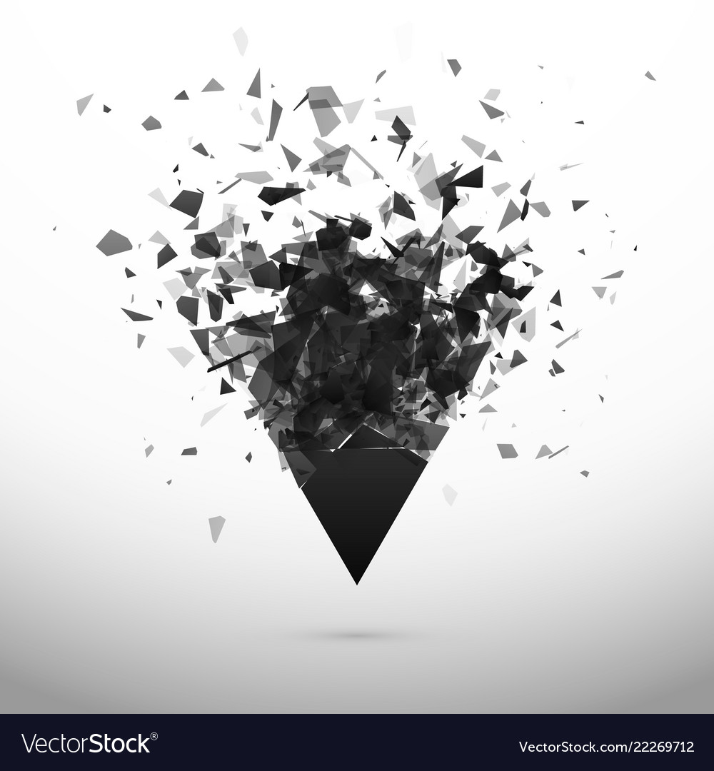 Shatter and destruction dark triangle explosion