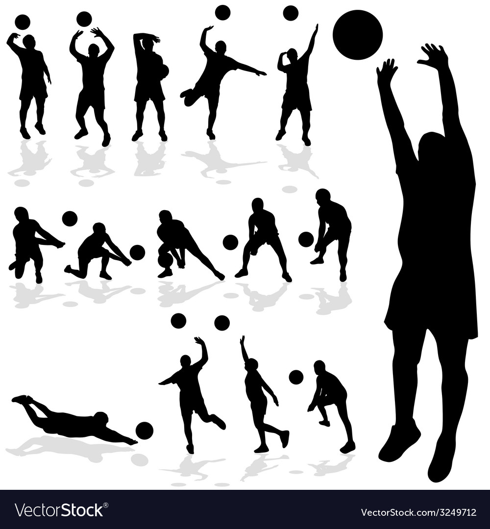 Volleyball player black silhouette in various