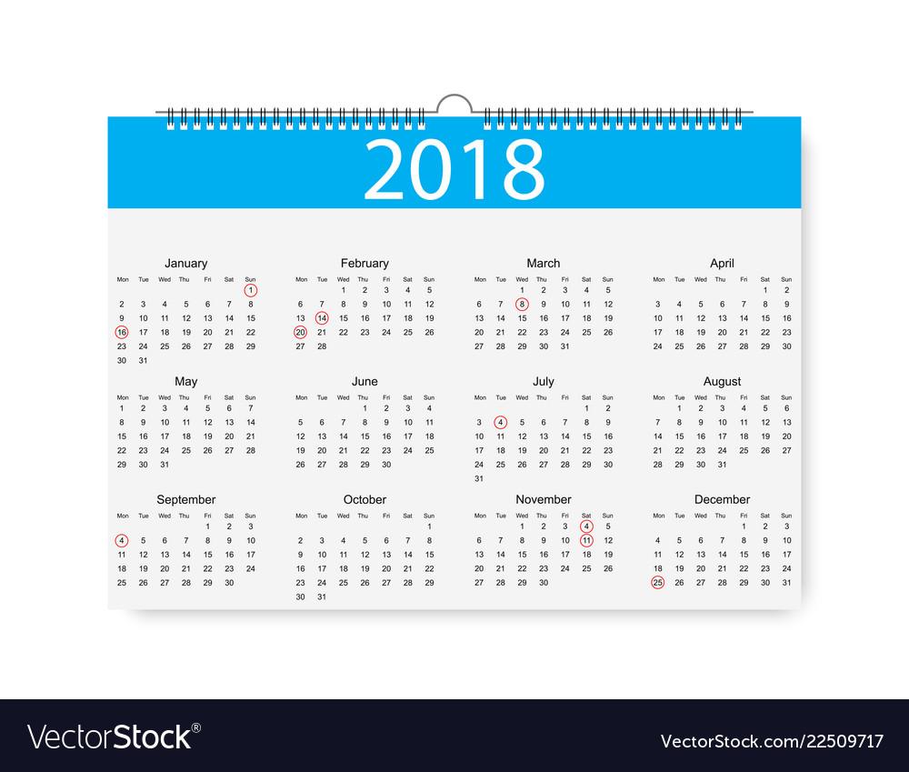 2018 new year calendar holiday event plannerweek