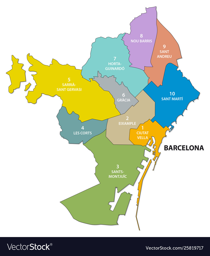 Administrative Map Catalan Barcelona Royalty Free Vector