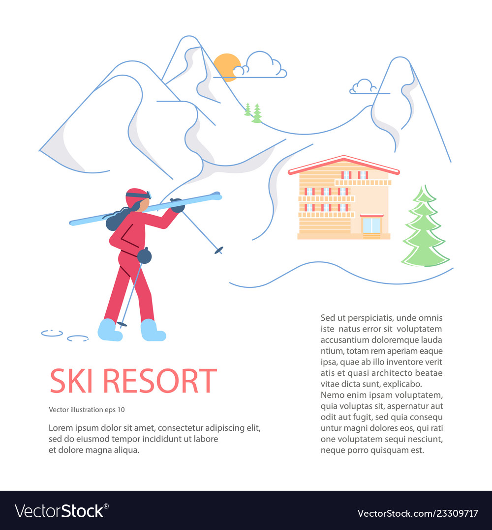 Banner template for mountain ski resort