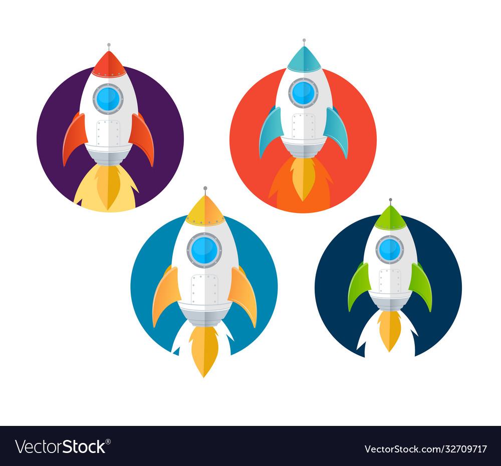 Cartoon color rockets ships icons set