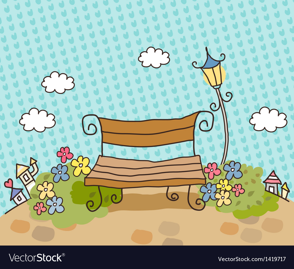Cartoon Park Bench vector image