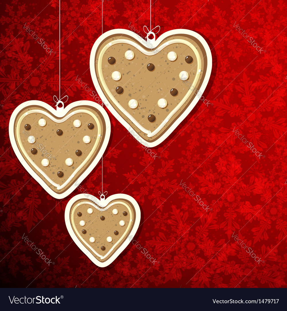 Christmas Background With Gingerbread Hearts