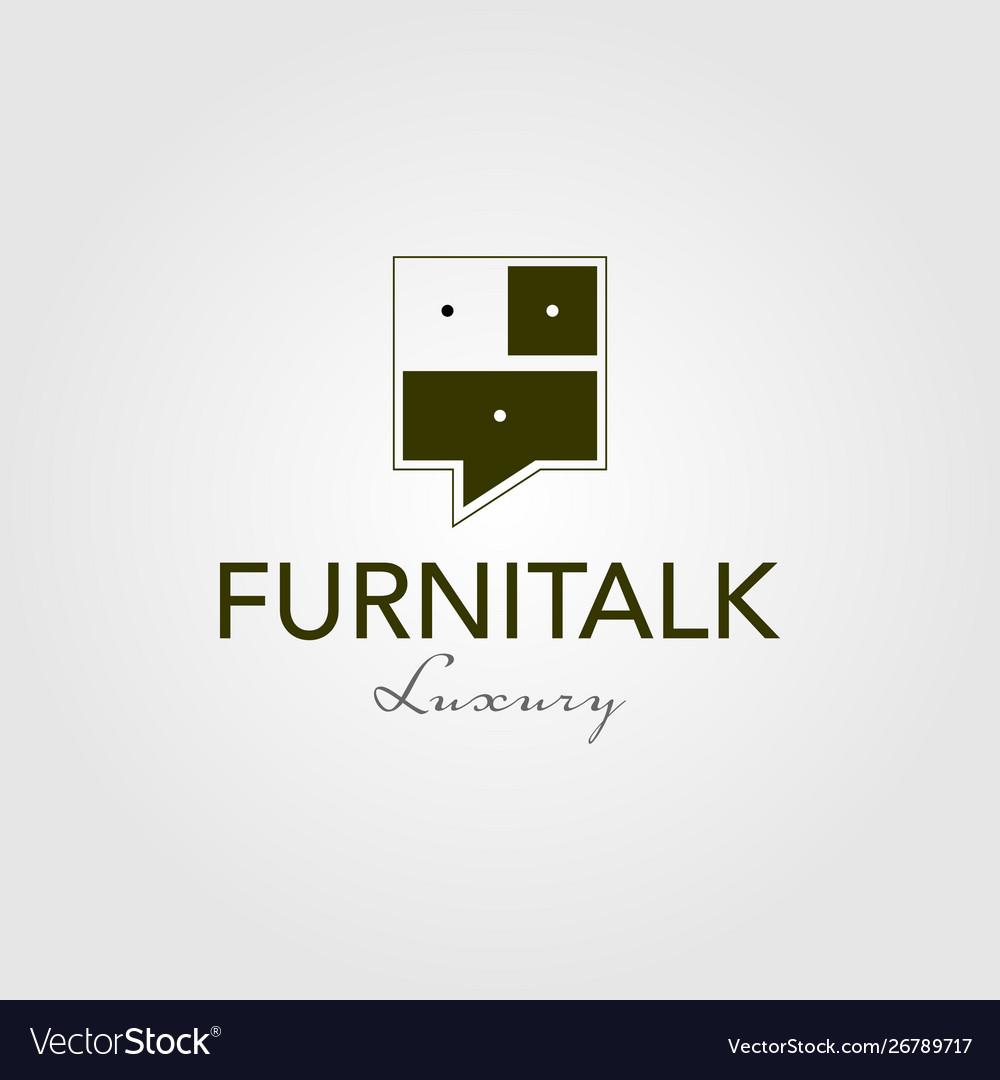 Furniture talk interior logo vintage icon