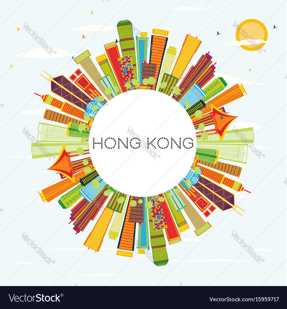 Hong kong skyline with color buildings blue sky vector image