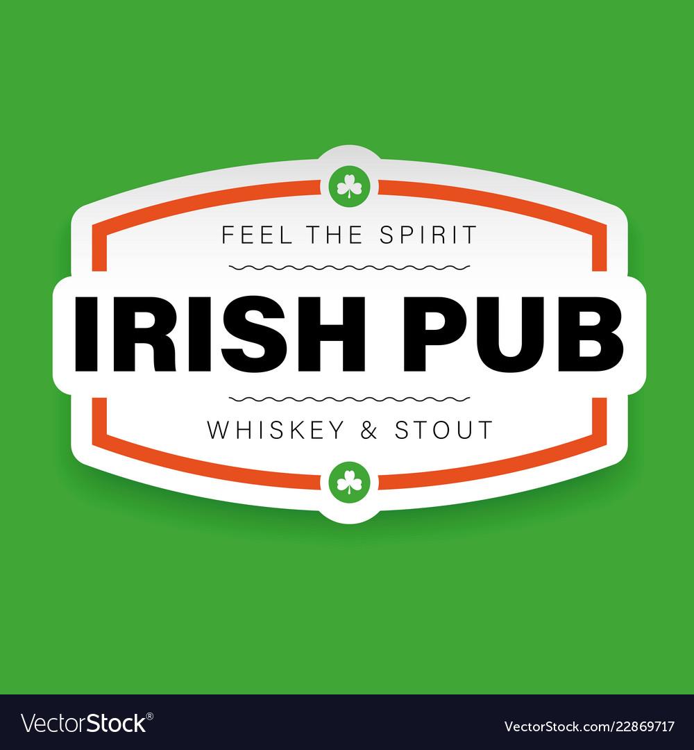 Irish pub vintage sign logo