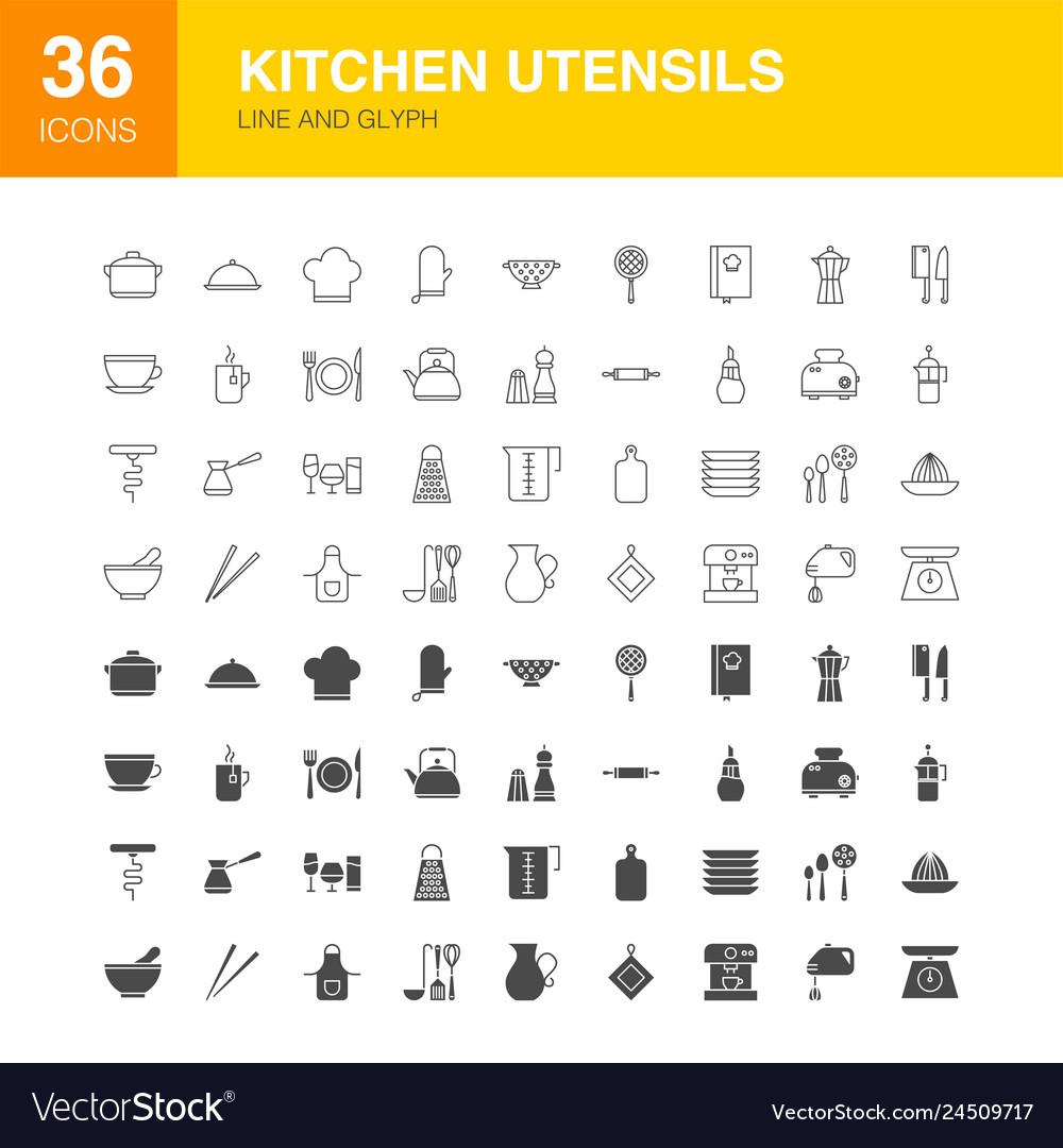 Kitchen utensils line web glyph