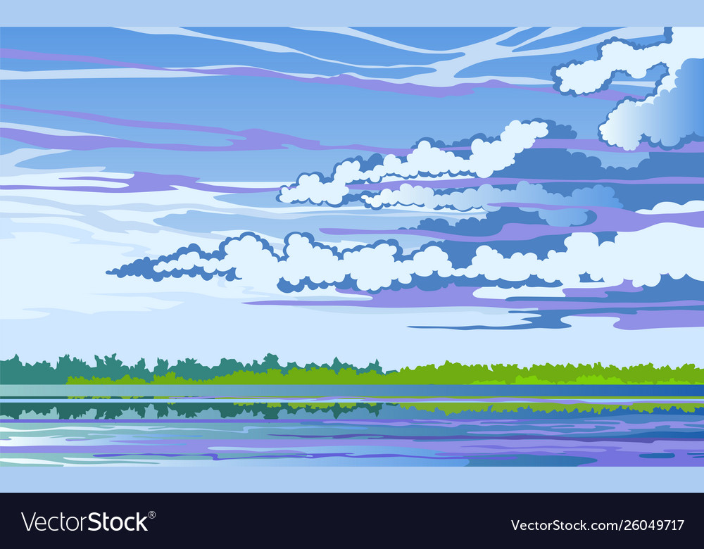 Morning landscape stylized with river