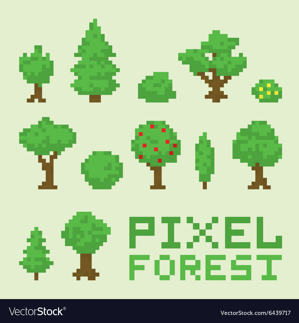 Pixel art forest isolated set