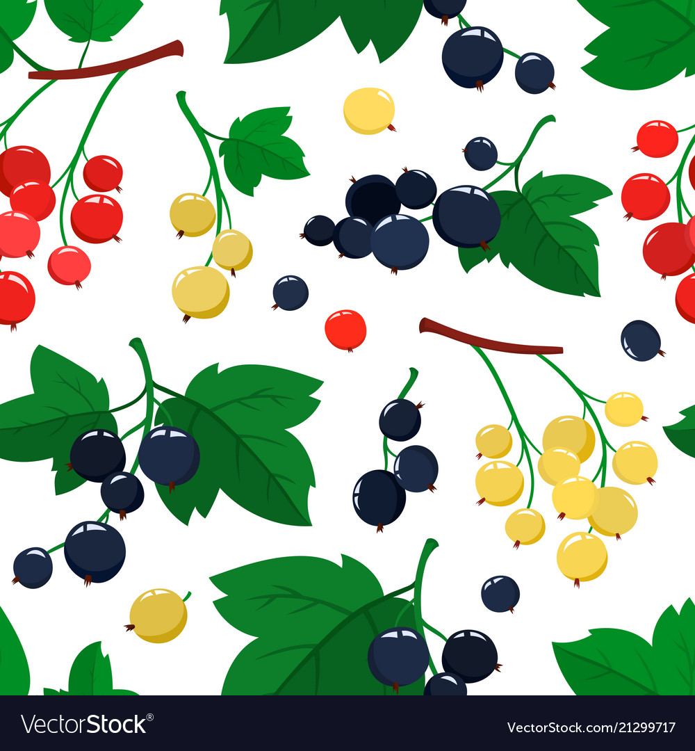Seamless pattern with cartoon currant