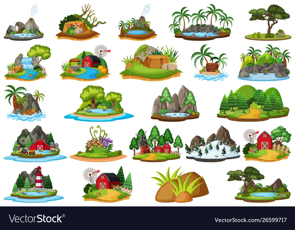 Set Different Plants And Landscapes Royalty Free Vector