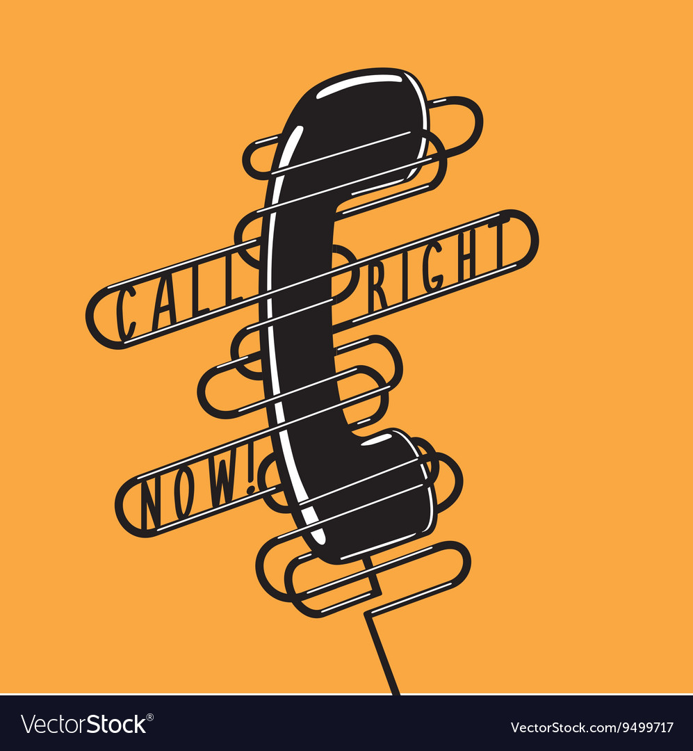 Vintage poster with a telephone Black handset