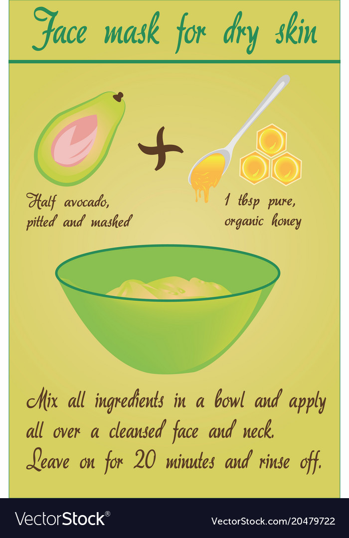 Diy avocado face mask for dry skin vector image