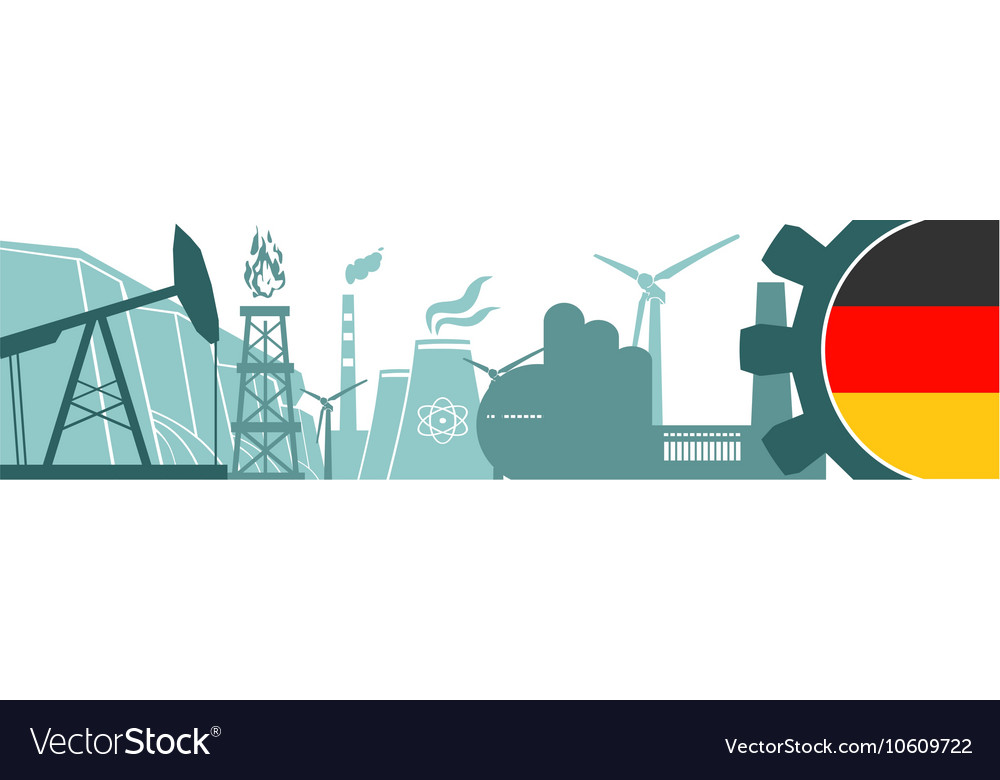 Energy and Power icons set Germany flag