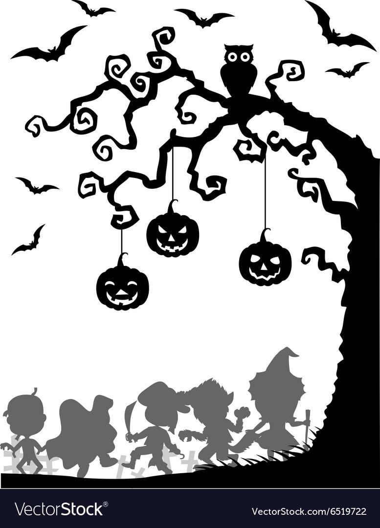 Halloween tree silhouettes vector image