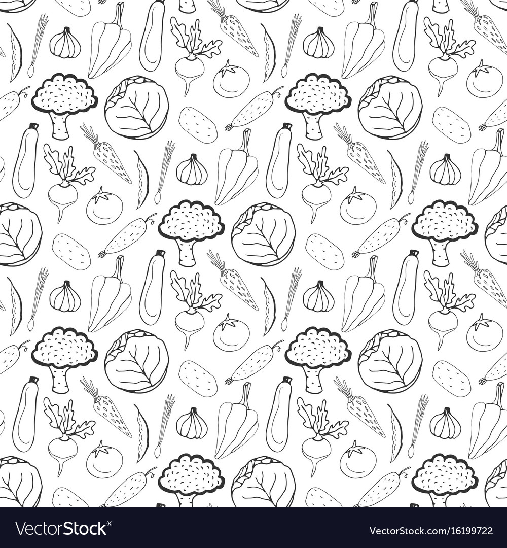 Hand drawn seamless background of healthy