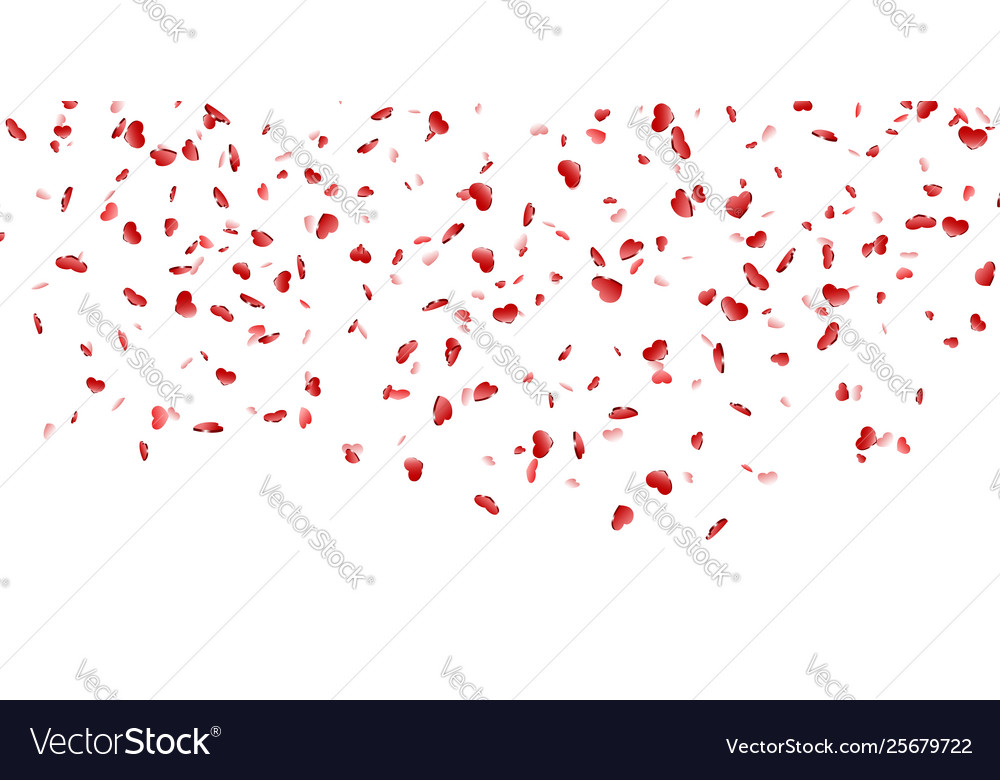 Heart falling confetti isolated white background