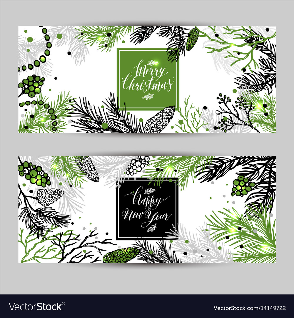 Merry christmas greeting banners with new years