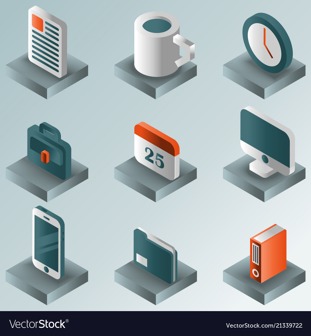 Office color gradient isometric icons