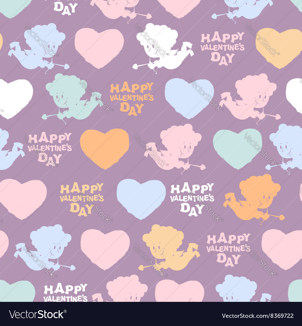 Romantic seamless pattern Cupid and hearts Happy