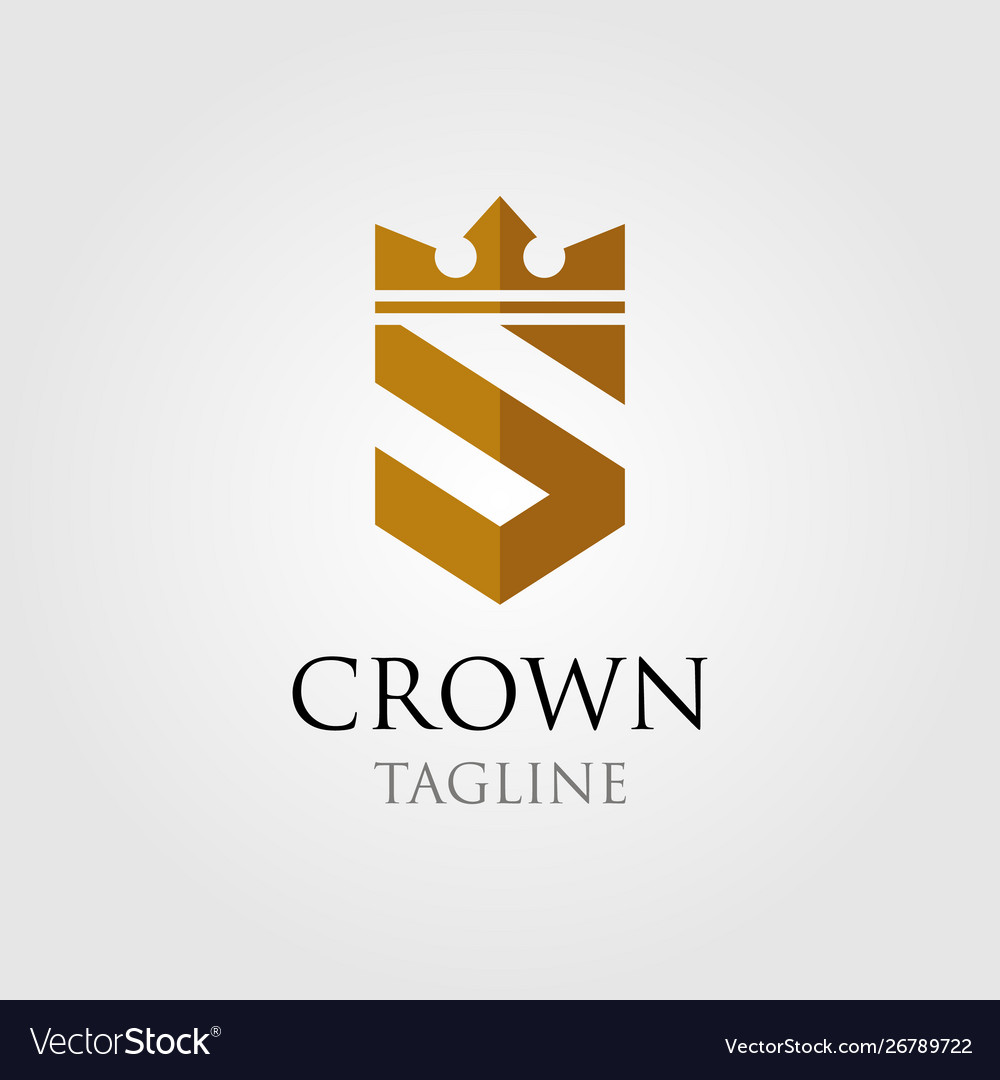 Vintage crown logo and letter s symbol