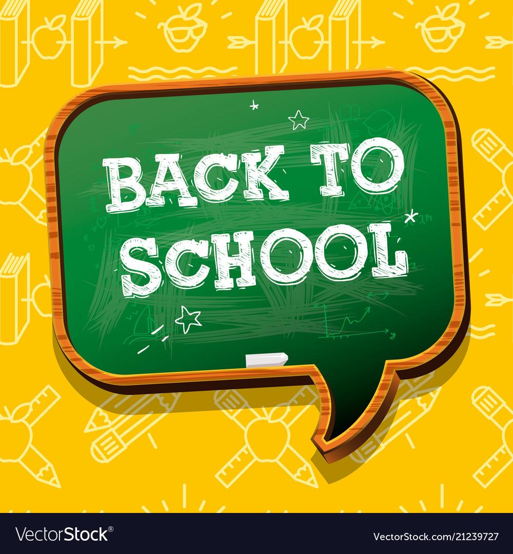 Back to school banner with chalkboard speech